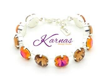 TOPAZ & ASTRAL PINK 12mm Crystal Cushion Cut Bracelet Made With Swarovski Elements *Pick Your Finish *Karnas Design Studio *Free Shipping*