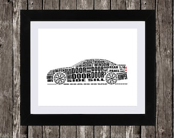 Car Automotive Printable Art, Typographic Car, Parts of a Car, Car Part Names, Word Art, Wall Art, Black, White, Typography, 14 x 11""