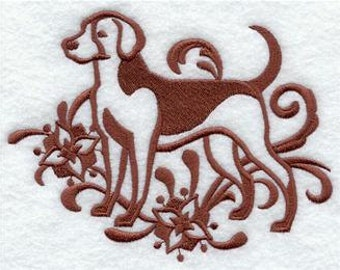 American Foxhound Dog EMBROIDERED Pair of 15 x 25 inch hand towels for kitchen / bath