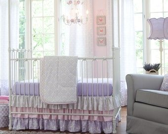 Girl Baby Crib Bedding: Lilac and Silver Gray Damask 3-Piece Crib Bedding Set by Carousel Designs