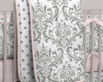Girl Baby Crib Bedding: Pink and Gray Traditions Crib Comforter by Carousel Designs