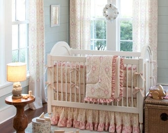 Girl Baby Crib Bedding: Juliet Crib Bedding - Fabric Swatches Only