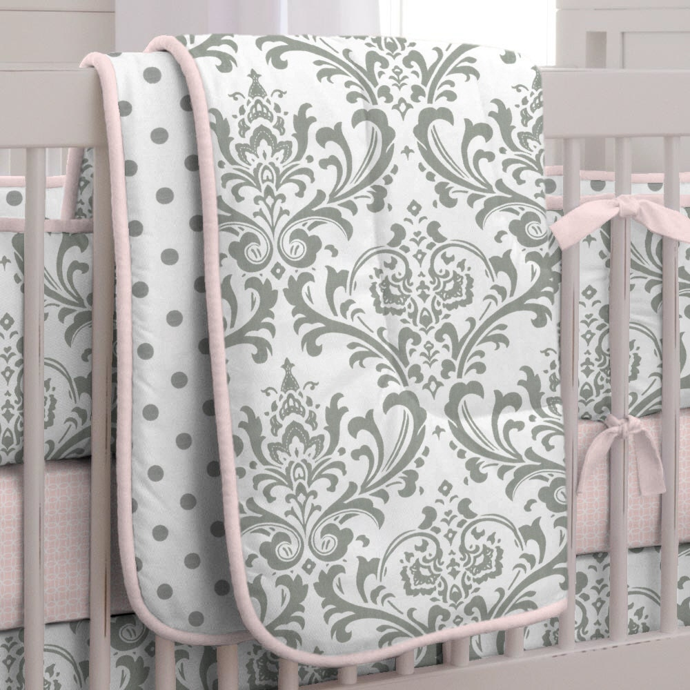 girl baby crib bedding pink and gray traditions crib. Black Bedroom Furniture Sets. Home Design Ideas