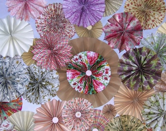 40pc floral   Paper Pinwheel Rosette Party Decoration Set wedding , birthday party ,backdrop background