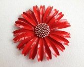 Trifari enamel flower brooch, assemblage jewelry, repurpose, red, white, shabby chic, vintage, jewelry, brooch, daisy, lipstick red, pinup