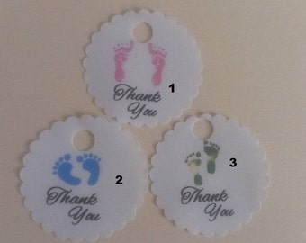 "20 60 100 Scalloped Round Baby Shower Baby Feet Thank You Favor Tags 1.5"" Size"