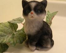 Vintage Blue Eyed Fuzzy Ceramic Kitten Cat