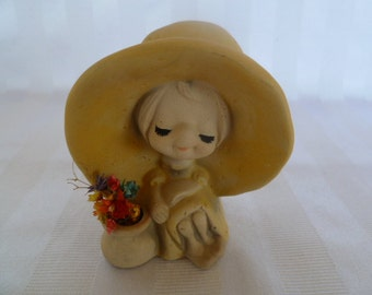 "Vintage UCTCI ""Hippy Girl"", Flower Child"" Figurine Japan"