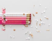 The Original Audrey Hepburn Happy Girls are the Prettiest Girls Ombre Pink Pencils with Gold Foil Text