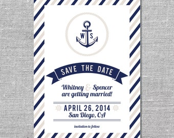 Nautical Save the Date | DIY Printable or Printed | 5x7
