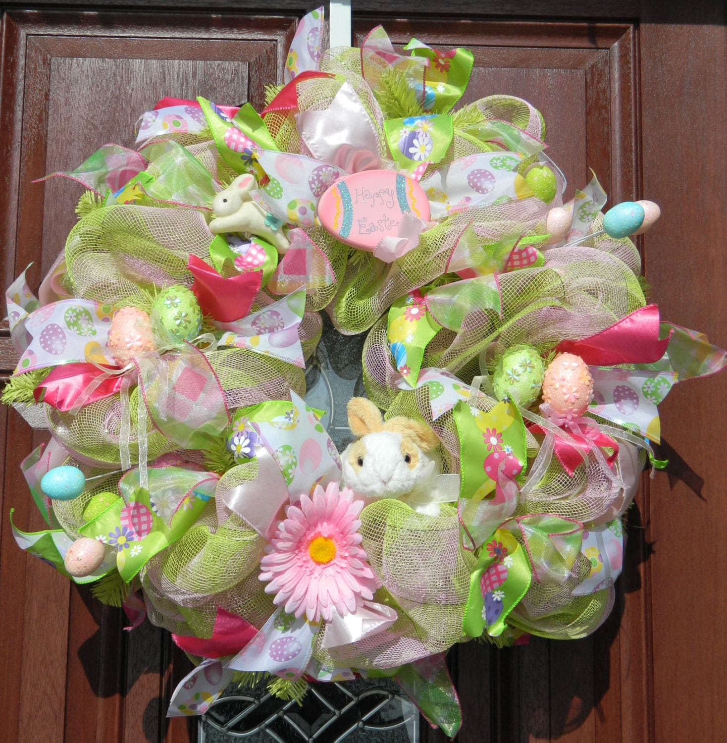 Pink Green Easter Deco Mesh Wreath Pink Green Deco Mesh