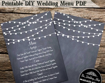 "String Lights On Chalkboard 5"" x 7"" Printable DIY Wedding Reception Table Menu Card Template PDF"