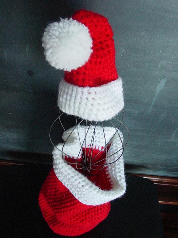 Handmade Crocheted Santa Cocoon Set by schoolhousetreasures