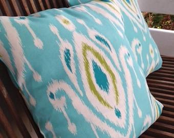 "ONE 17x17"" INDOOR/OUTDOOR pillow cover ~ ikat, turquoise, aqua"