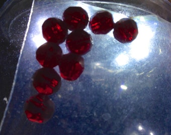 Ruby Red Faceted Glass Fire Polished Beads 8mm, 9 pieces 4.50