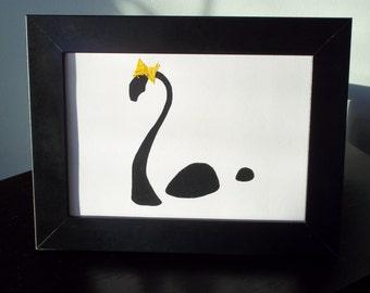 Dapper Female Nessie 5x7 Framed Silhouette Art
