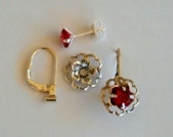 Georgous Ruby 6mm CZ posts Silver style flower jackets and a pair of convertiblez