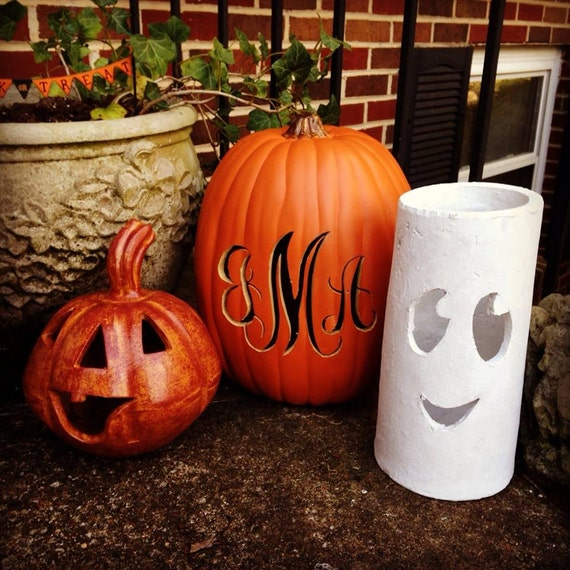 Free shipping hand carved monogram on artificial pumpkin