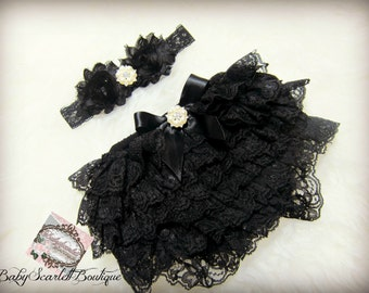 Baby Girl Black Lace Ruffle Bloomer,Diaper Cover and Headband Set