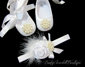 White Satin Baby Girl Shoes with Headband Set