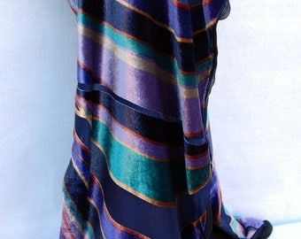 Silk velvet burnout scarf, contemporary design.