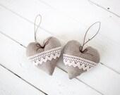 Heart shape Lavender Pillow - Rustic linen Valentine's day  ornament -  Home decor