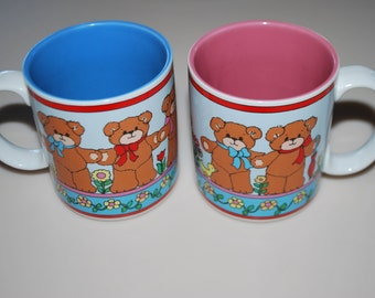 Lucy Rigg Enesco Teddy Bear Cups Mugs 1985 Lot Pink Blue Set