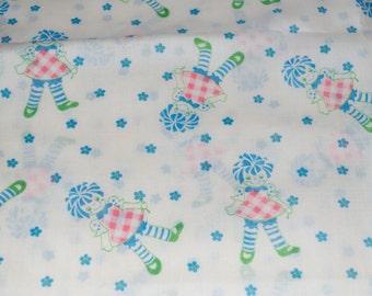 "Rag Doll Raggedy Ann Fabric Blue Pink Green White Flowers 2+ Yards 45"" x 80"""