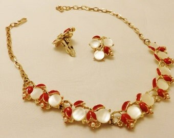 Gold Tone Red Flower Necklace and  Earrings Jewelry Set