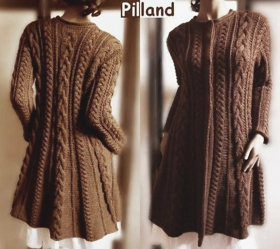 ef0a0c960a674b Sweater Coat knitting pattern PDF Cable knit A line coat