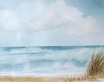 Sand and Surf Original Watercolor Painting