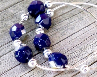 Bell - Navy Blue Gold Silver Faceted Czech Glass Beaded Silver Hoops Earrings - 30mm Round