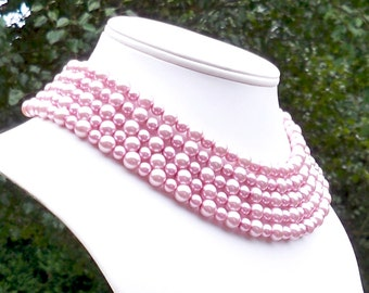 Darbyshire - Extra Long Pink Pearl Beaded Necklace - Can Be WORN MULTIPLE WAYS