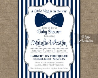 Bow Tie Baby Shower Invitations - Printable Navy Blue & Silver Baby Shower Invites - Boy Bowtie Baby Shower Invitation - Blue and White NSG
