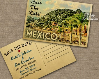 Mexico Save The Date Postcard - Vintage Travel Mexico Save The Date Cards - Printable Lake Chapala Destination Wedding Save The Date VTW