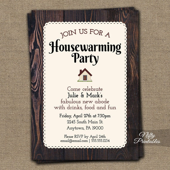 Housewarming invitations printable brown wood rustic house - House warming blessing ...