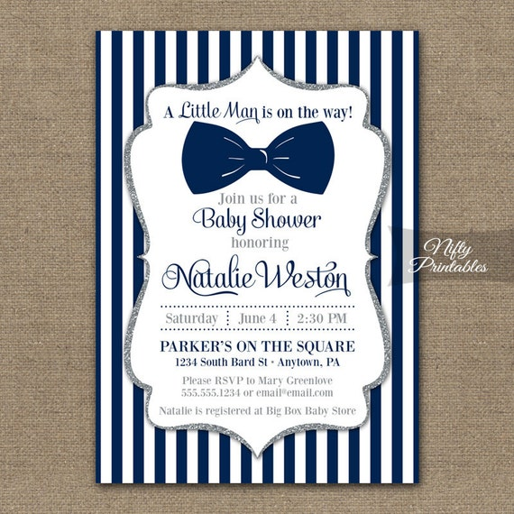 bow tie baby shower invitations printable navy blue silver baby