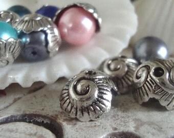 Sea  Bead caps ,Ocean Wave bead caps ,6 or 12 bead caps