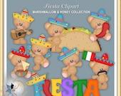 Fiesta Clipart, Cinco de Mayo, Teddy Bear, Marshmallow and Honey