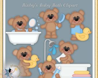 Baby Boy Teddy Bear Bath Clipart