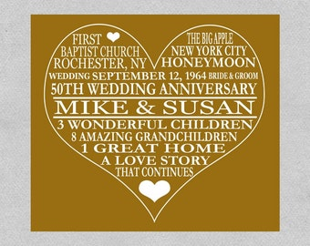 50th Anniversary Print - Golden Anniversary - Parents Anniversary Gift ...