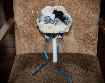 Vintage inspired fabric bridesmaid bouquet in black, cream and blue