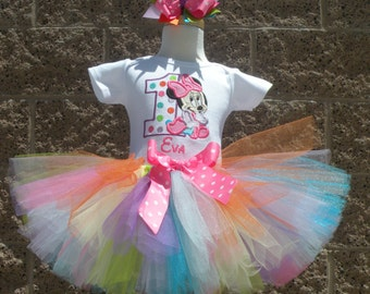 Baby Minnie Mouse Pastel Rainbow Dots Birthday Number Tutu -Personalized Birthday Tutu,Sizes 6m - 14/16
