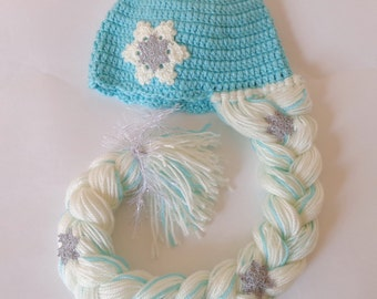 Elsa Frozen Hat With Snowflake Flower - Disney Princess Queen Hat Crochet Wig -HalloweenWig / Cosplay Wig