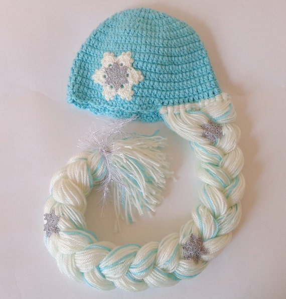 Crochet Elsa Hair Hat : Elsa Frozen Hat With Snowflake Flower - Disney Princess Queen Hat ...
