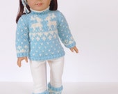 Doll clothes knitting pattern PDF for 18 inch American Girl type doll (AG doll): Doll Sweater and Ski Socks