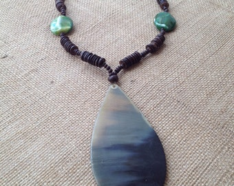 THE TURICACU NECKLACE - coconut shell. horn pendant. coconut beads. acrylic bead. stone