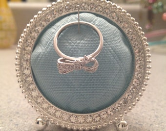 Wedding Engagement Ring Display - 2x2 Sparkly Frame - Blue Fabric
