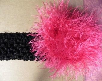Crochet Headband with Eyelash Fluffy Flower Many Colors Baby / Toddler