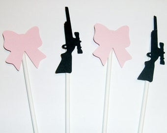 Gender Reveal Cupcake toppers Rifle and Bows (207C)